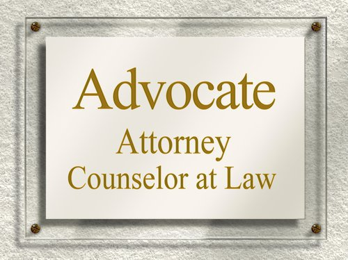 "Door Sign that reads ""Advocate. Attorney. Counselor at Law"