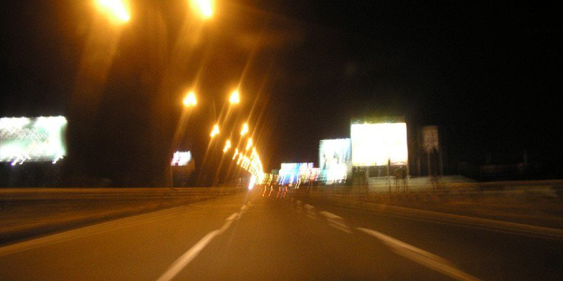 Blurry photo of a highway