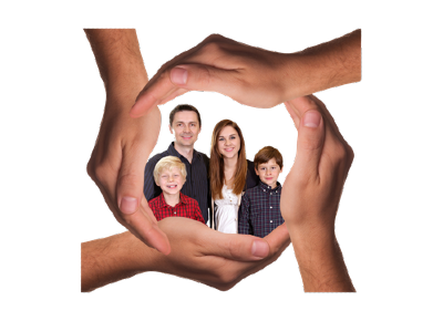Family of four in between hands