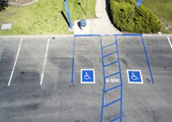 Parking lot with areas marked off for handicap parking spots