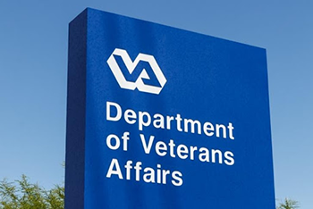 Blue department of veterans affairs sign