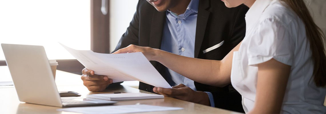 financial advisor working with a client