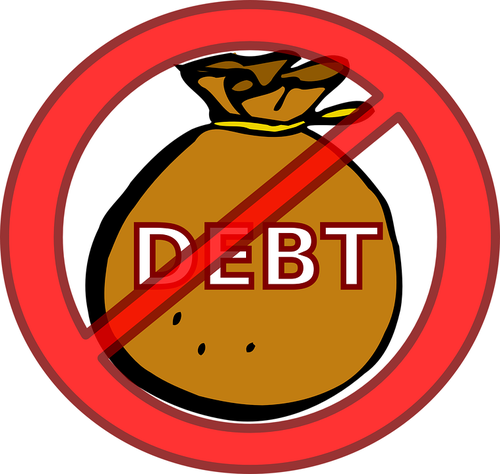 Bag of debt crossed out