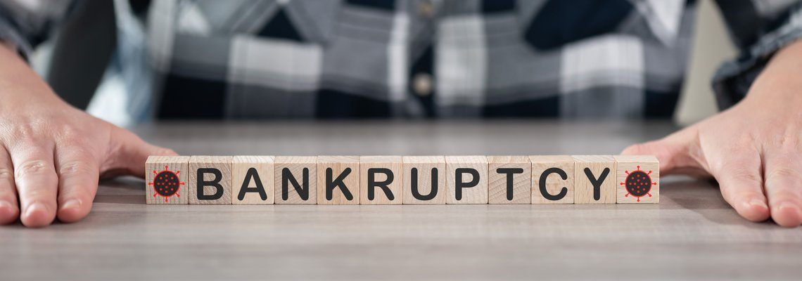 Bankruptcy spelled out with blocks