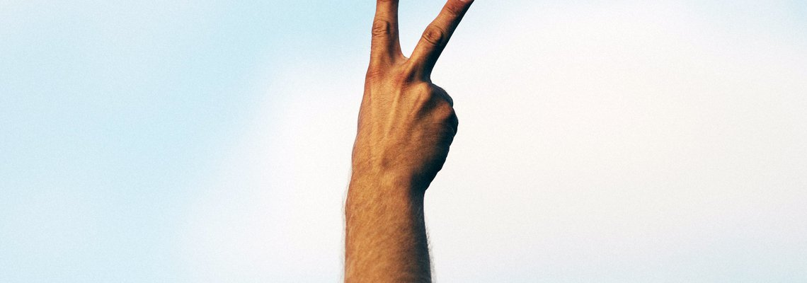 person holding up peace sign