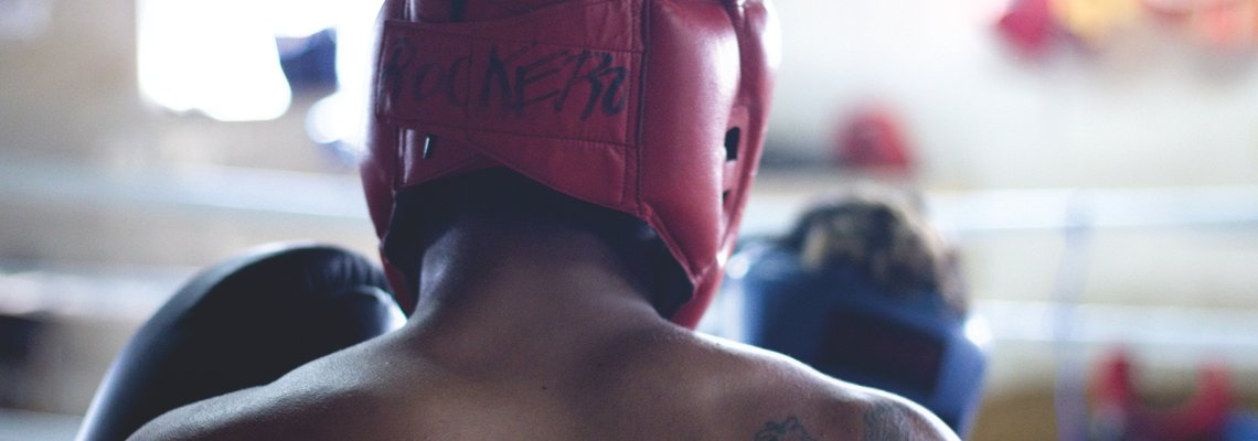 Boxer with headgear on