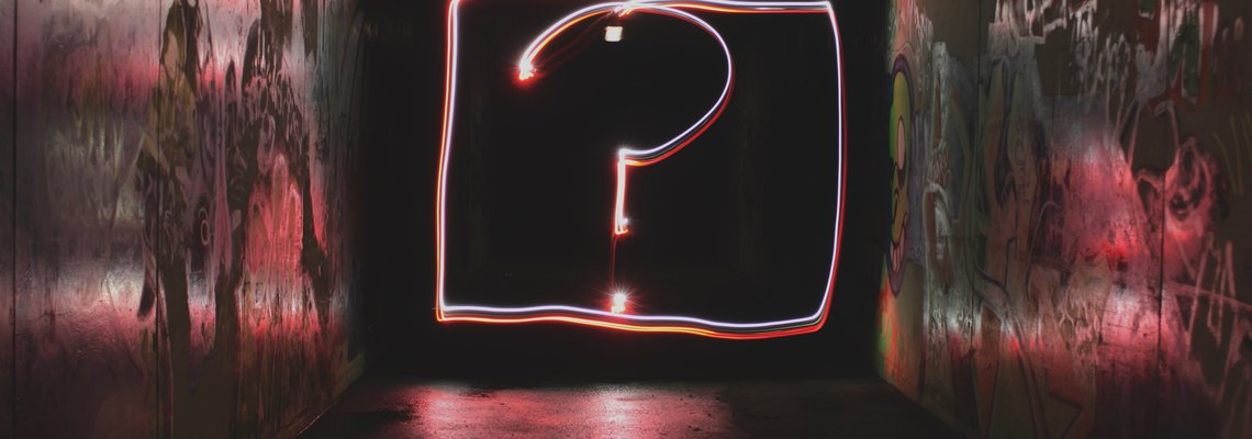 neon question mark sign