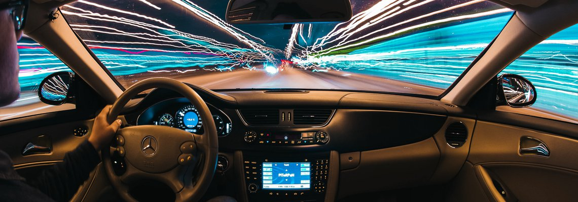 in-car point of view looks like its entering warp speed