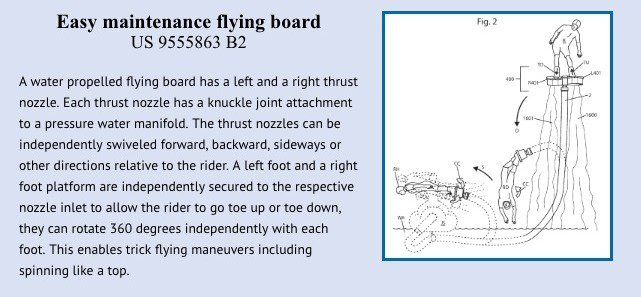 Easy maintenance flying board patent