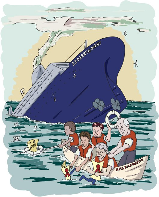 Sinking ship with lifeboat and passengers