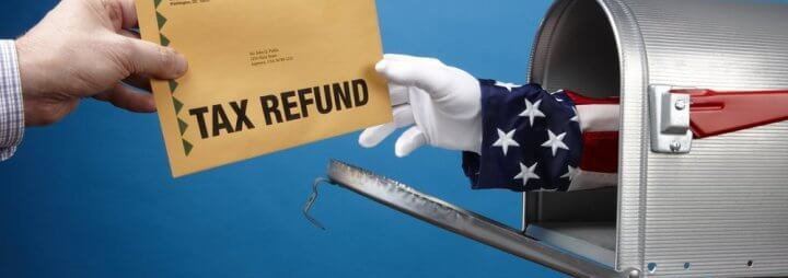 Tax refund going into mail box