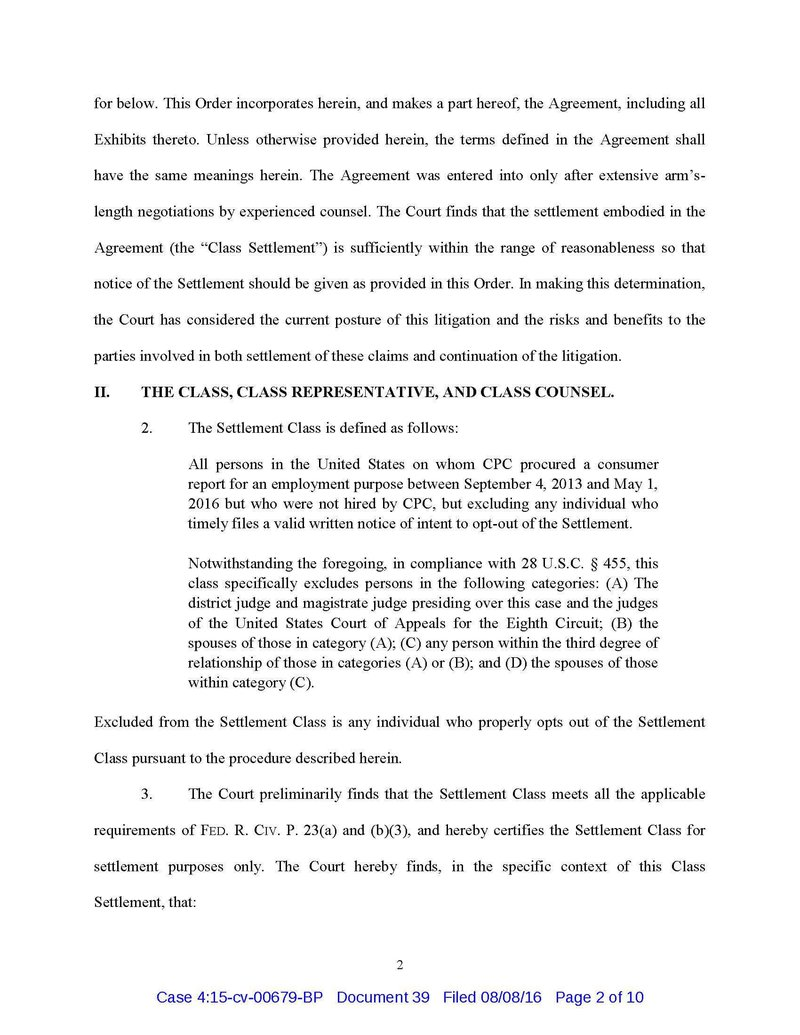 Order certifying settlement class and preliminary approval Doc 39_Page_02