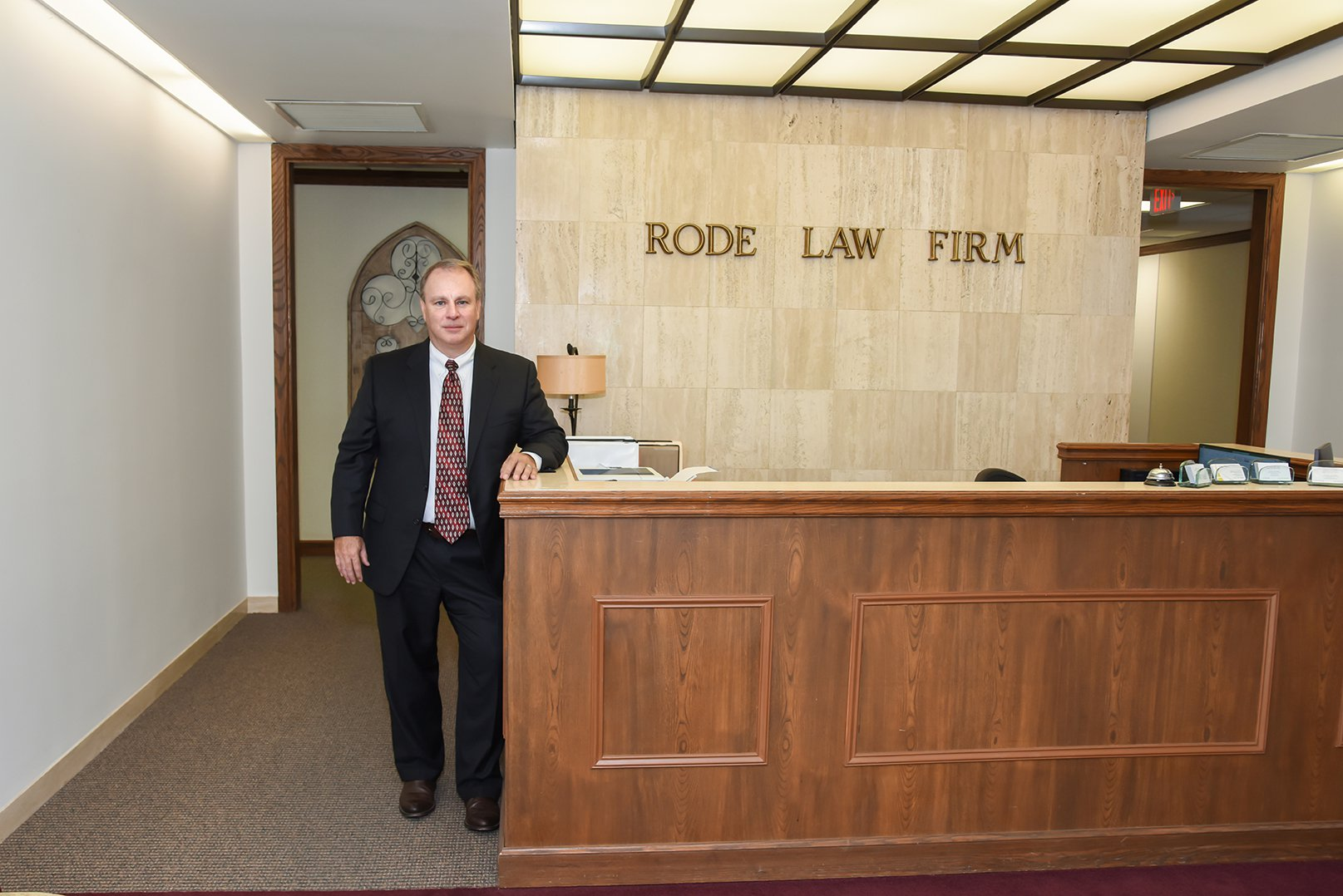 Robert Rode at Rode Law Firm front desk