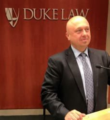 Sports law attorney Scott Andresen speaking at the Fifth Annual Sports & Entertainment Law Symposium at Duke University.