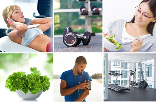 six individual pictures representing a healthy lifestyle