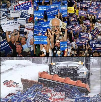 pile of political signs being scooped by snow plower