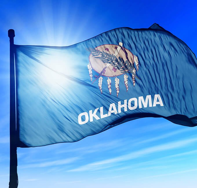 Oklahoma flag flying in the wind