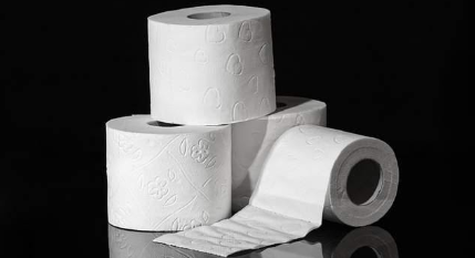 a stack of toilet paper