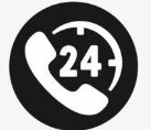 Phone icon with a 24 timer on it