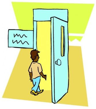 Cartoon of a man walking through a door