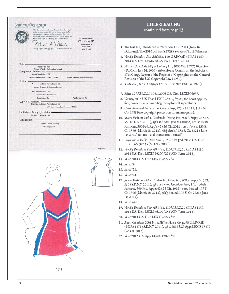 Certificate of Registration from the Copyright office, Sources, and drawing of cheerleading uniform