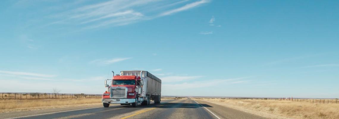 Semi Truck on an empty road