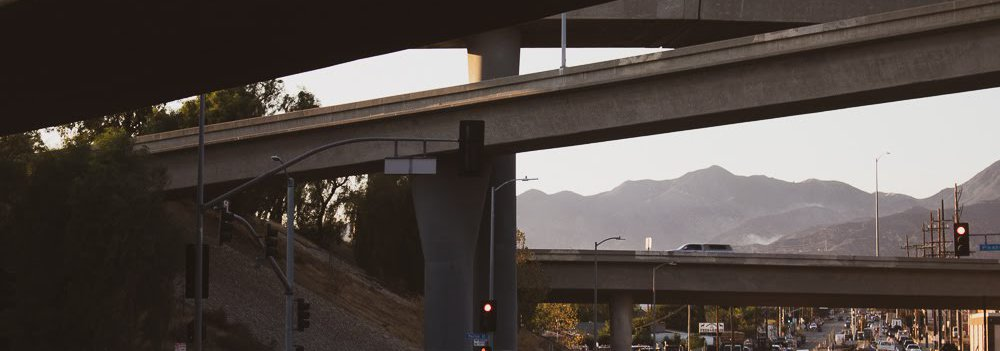 Highway under overpasses