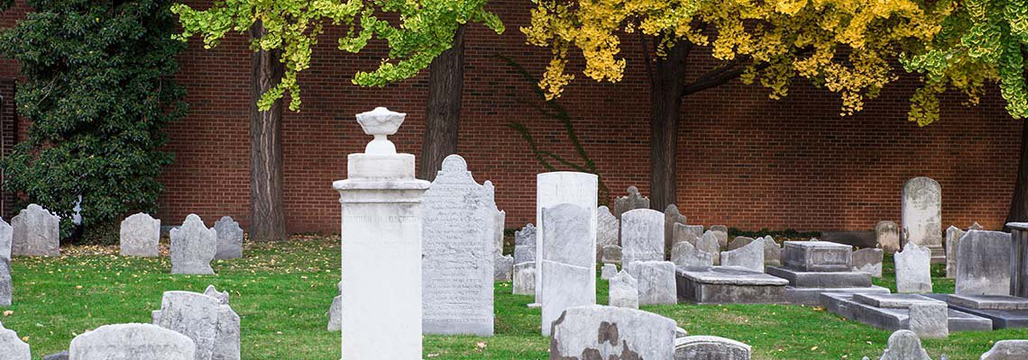 A cemetery with grave stones