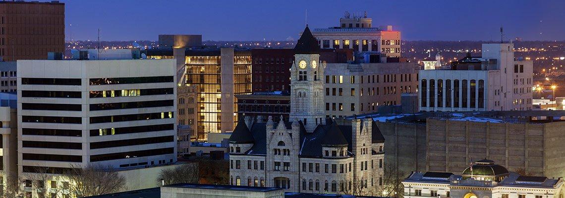 Wichita, Kansas skyline at night