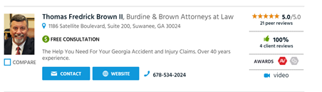 Attorney Thomas F. Brown, II Reviews and Awards