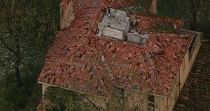 Roof damaged by a hailstorm