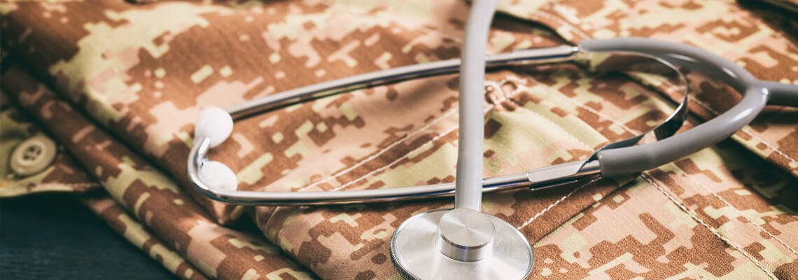 Stethoscope on top of army uniform