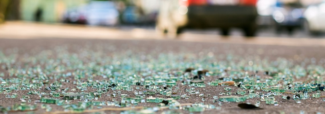 Shattered glass on road