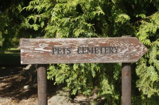 sign that says pets cemetery