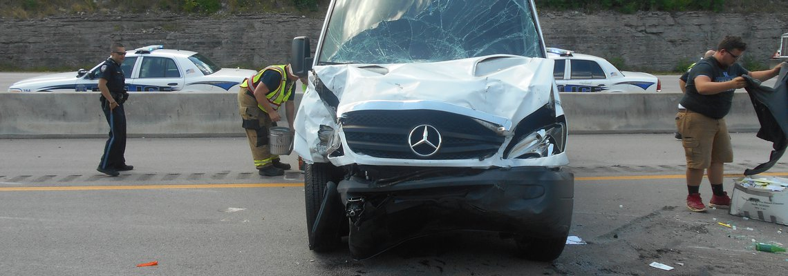 Mercedes van after a crash