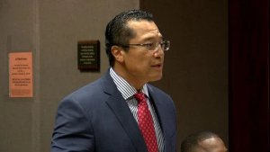 Attorney William Harrison speaking in a courtroom