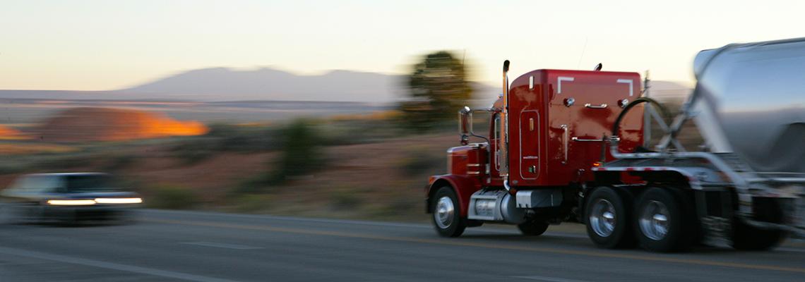Semin truck heading toward another vehicle