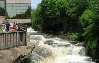 Cuyahoga Falls Closeup with People Walking on Deck