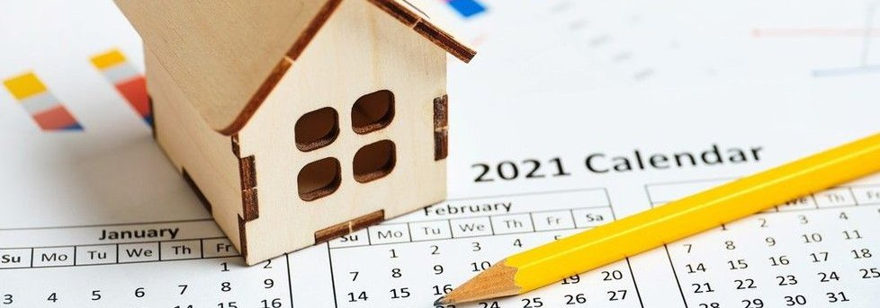 2021 calendar with small model of a house