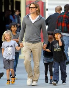 Brad Pitt takes the kids to the movies.